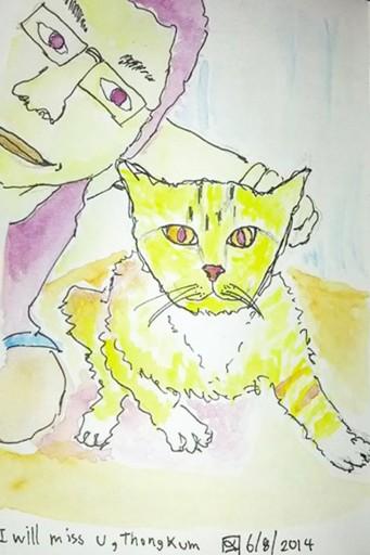 เจอแมวทองบาดเจ็บเลยเอามารักษา ก่อนส่งต่อให้บ้านใหม่เลยวาดภาพเป็นที่ระลึก  จะได้จำได้ว่าเราเคยเจอกันมาก่อน